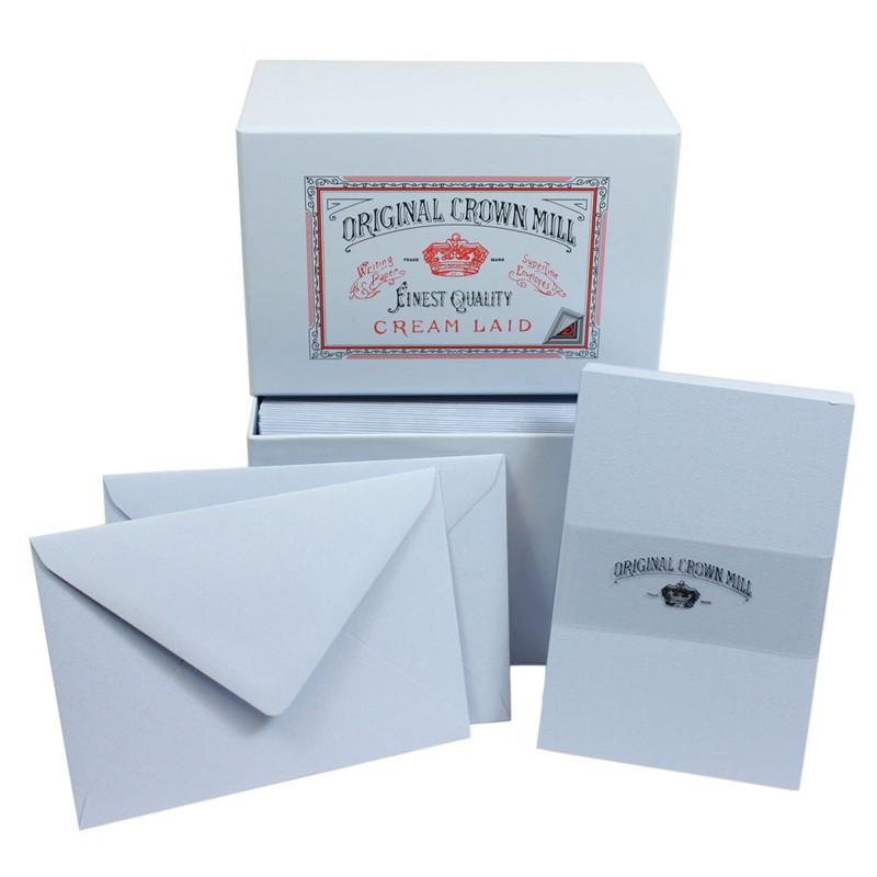 Crown Mill Luxury Box C6 Set of 50 Cards and Envelopes - Blue