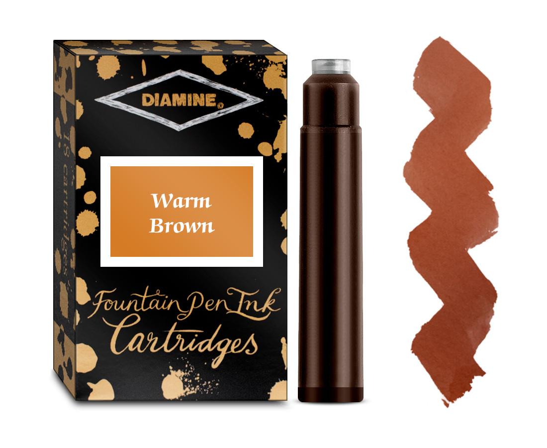 Diamine Ink Cartridge - Dark Brown (Pack of 18)