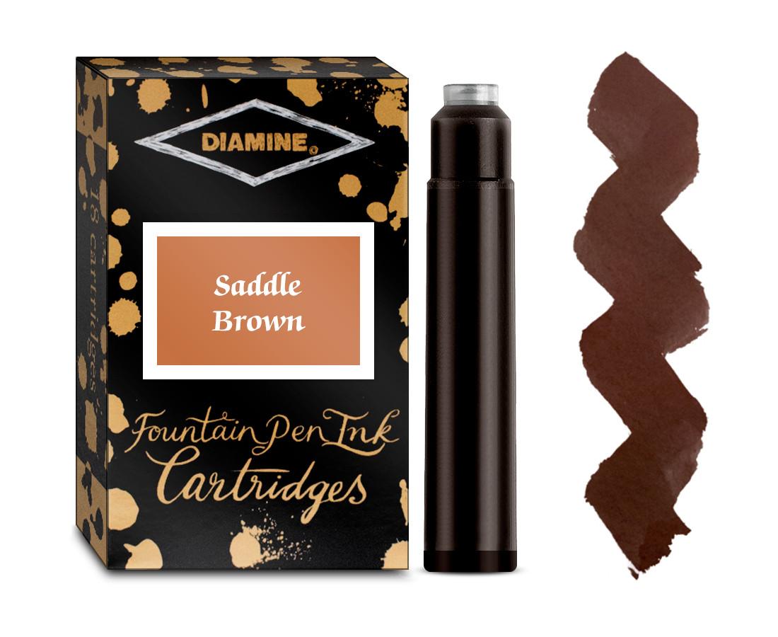 Diamine Ink Cartridge - Saddle Brown (Pack of 18)