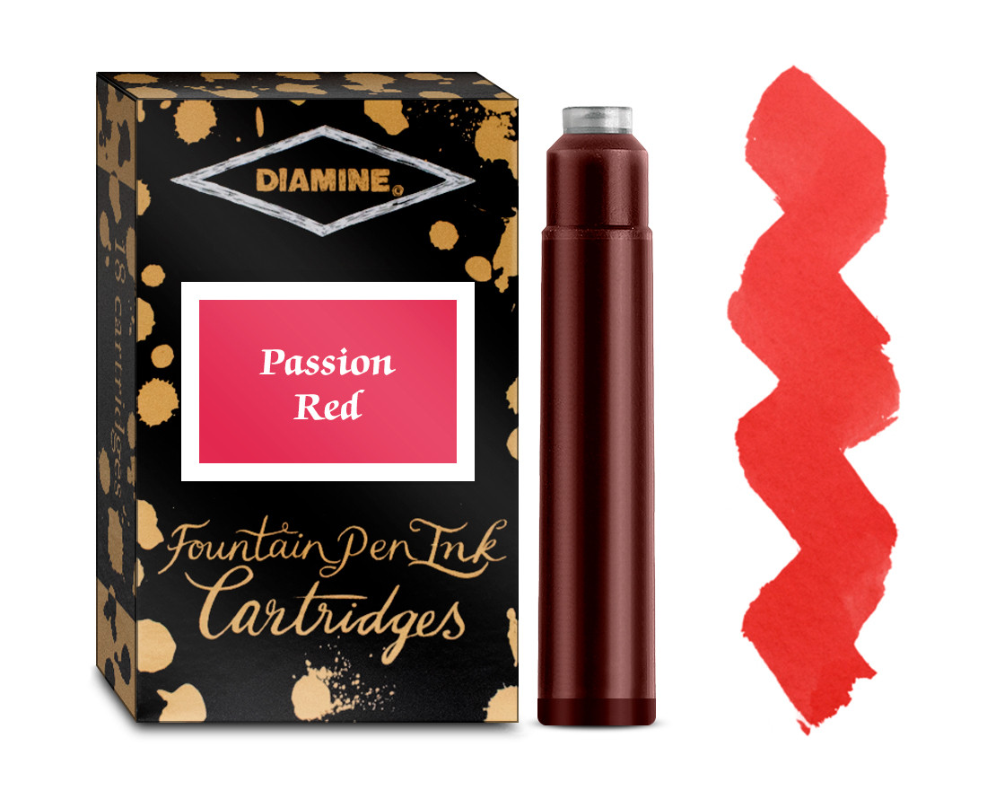 Diamine Ink Cartridge - Passion Red (Pack of 18)