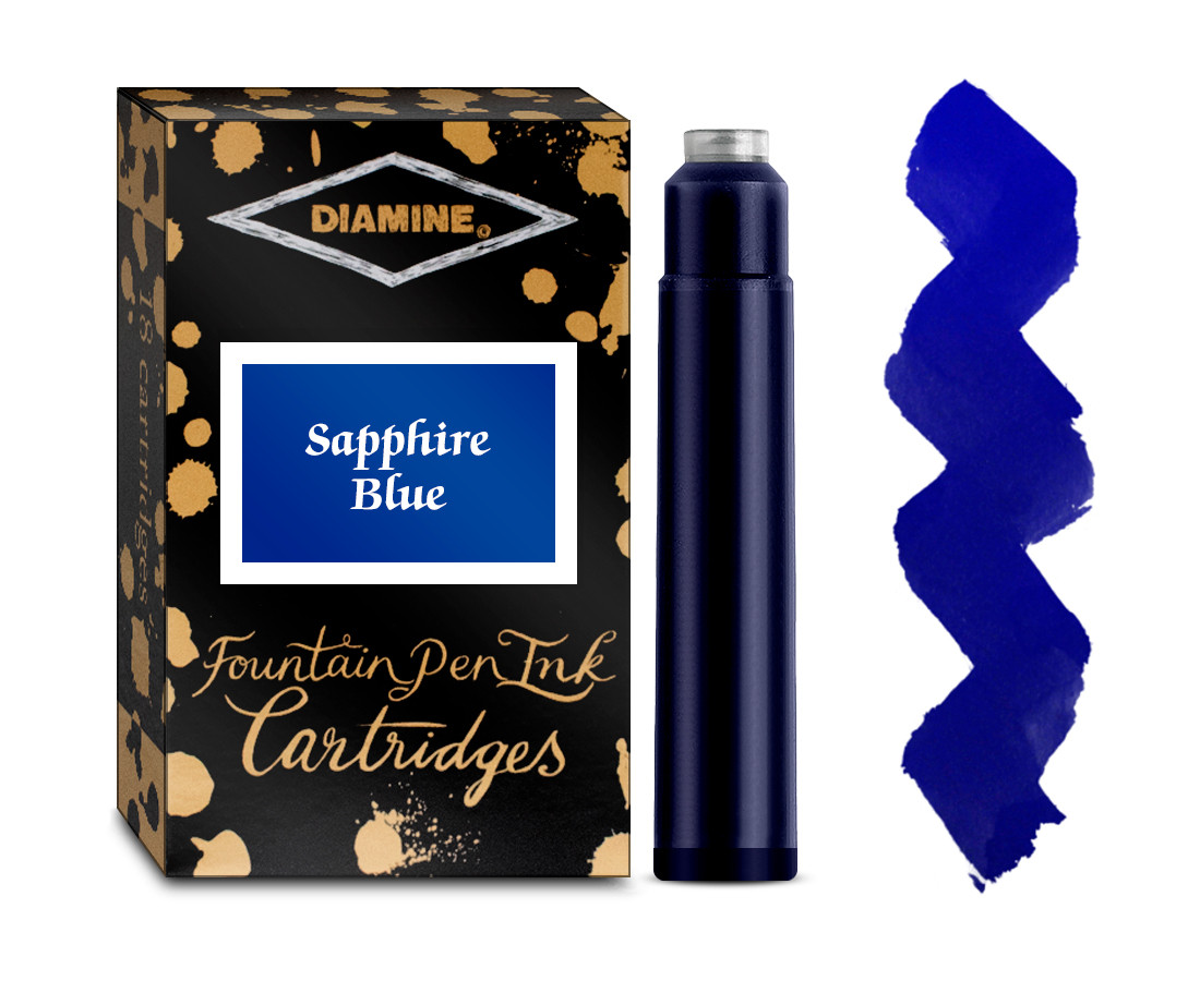 Diamine Ink Cartridge - Sapphire Blue (Pack of 18)