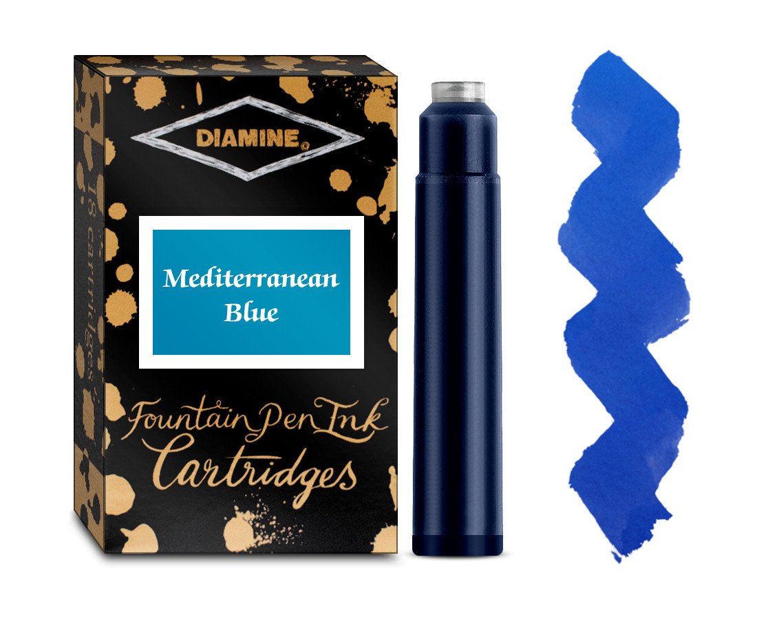 Diamine Ink Cartridge - Mediterranean Blue (Pack of 18)