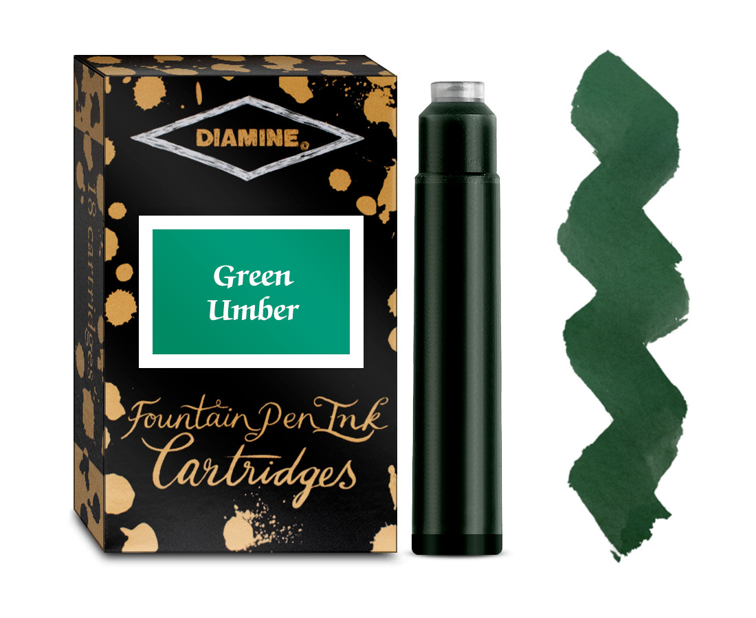 Diamine Ink Cartridge - Green Umber (Pack of 18)