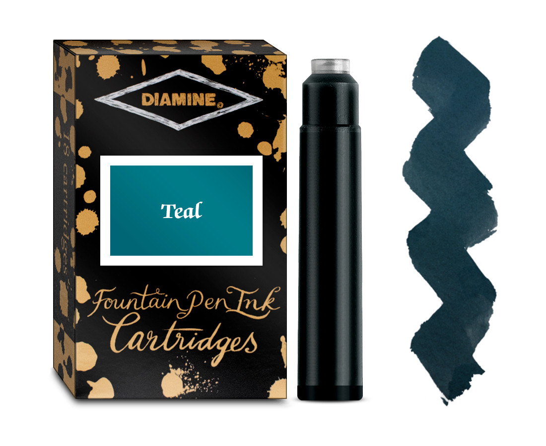 Diamine Ink Cartridge - Teal (Pack of 18)