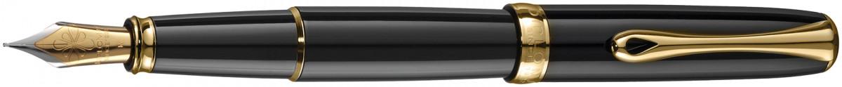 Diplomat Excellence A2 Fountain Pen - Black Lacquer Gold Trim