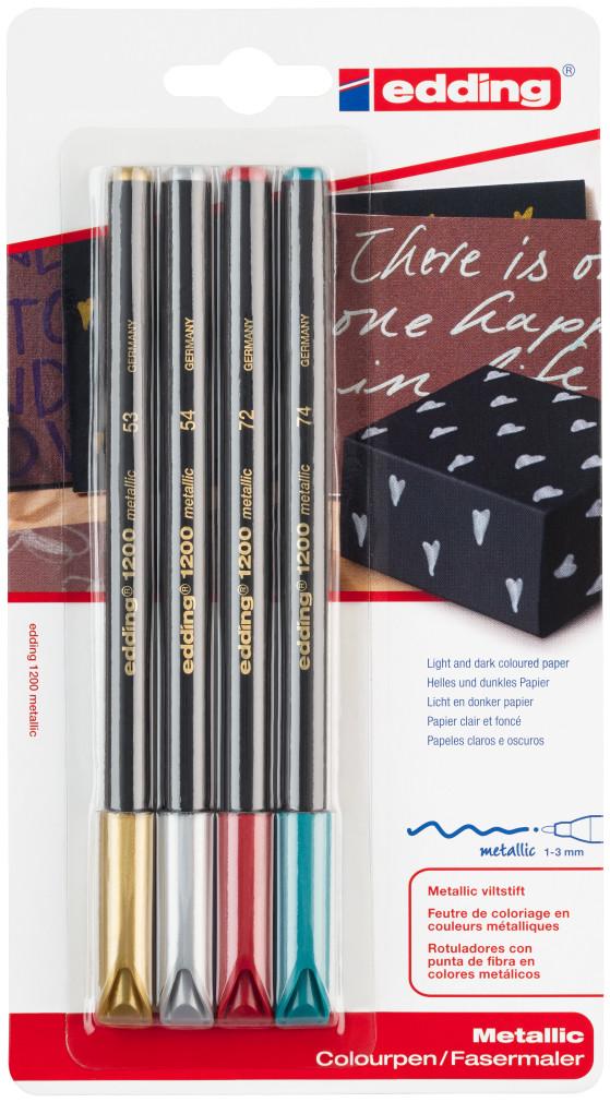Edding 1200 Fibre Tip Pens - Assorted Metallic Colours (Blister of 4)