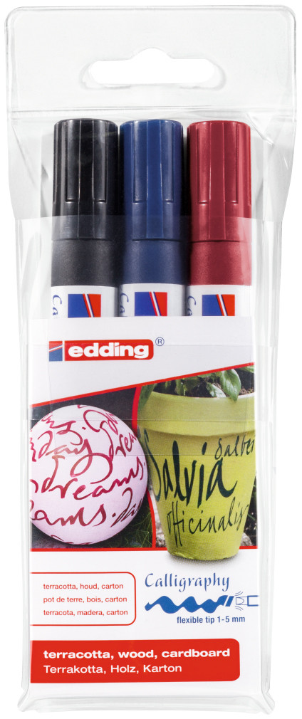 Edding 1455 Calligraphy Markers - Assorted Colours (Wallet of 3)