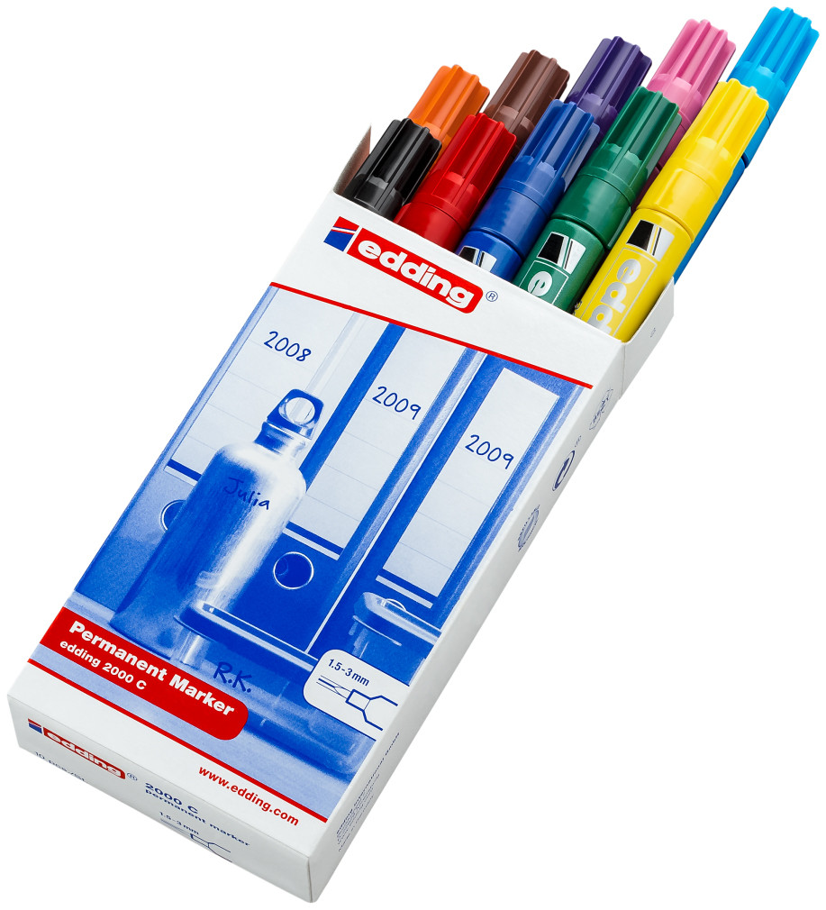 Edding 2000 Permanent Markers - Assorted Colours (Pack of 10)