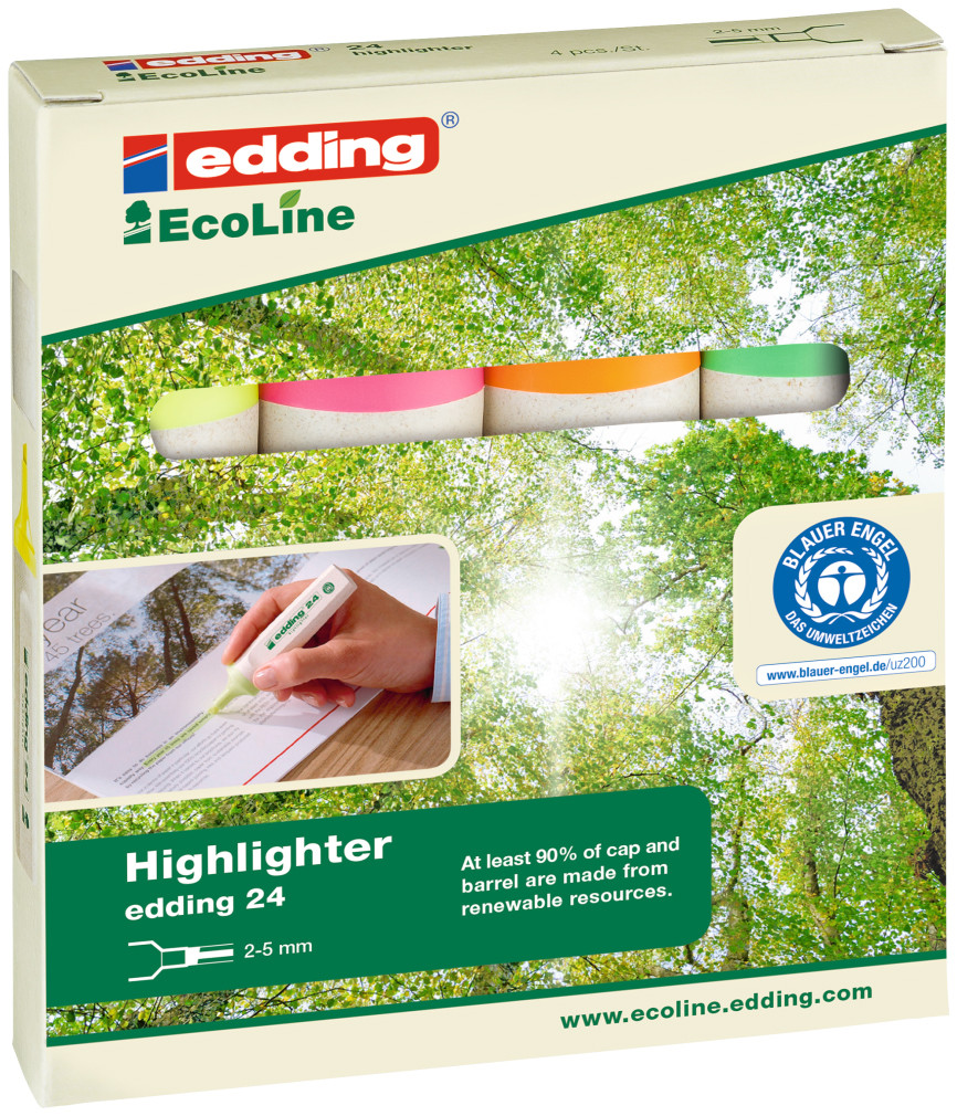 Edding 24 EcoLine Highlighters - Assorted Colours (Pack of 4)