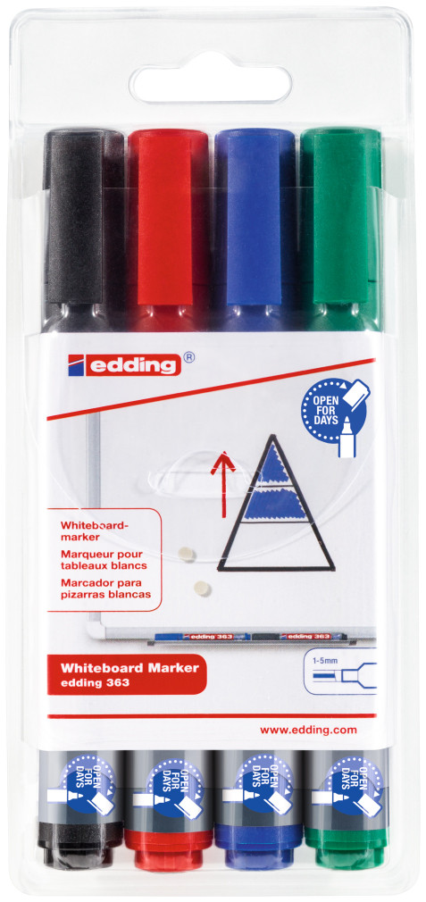 Edding 363 Whiteboard Markers - Assorted Colours (Wallet of 4)