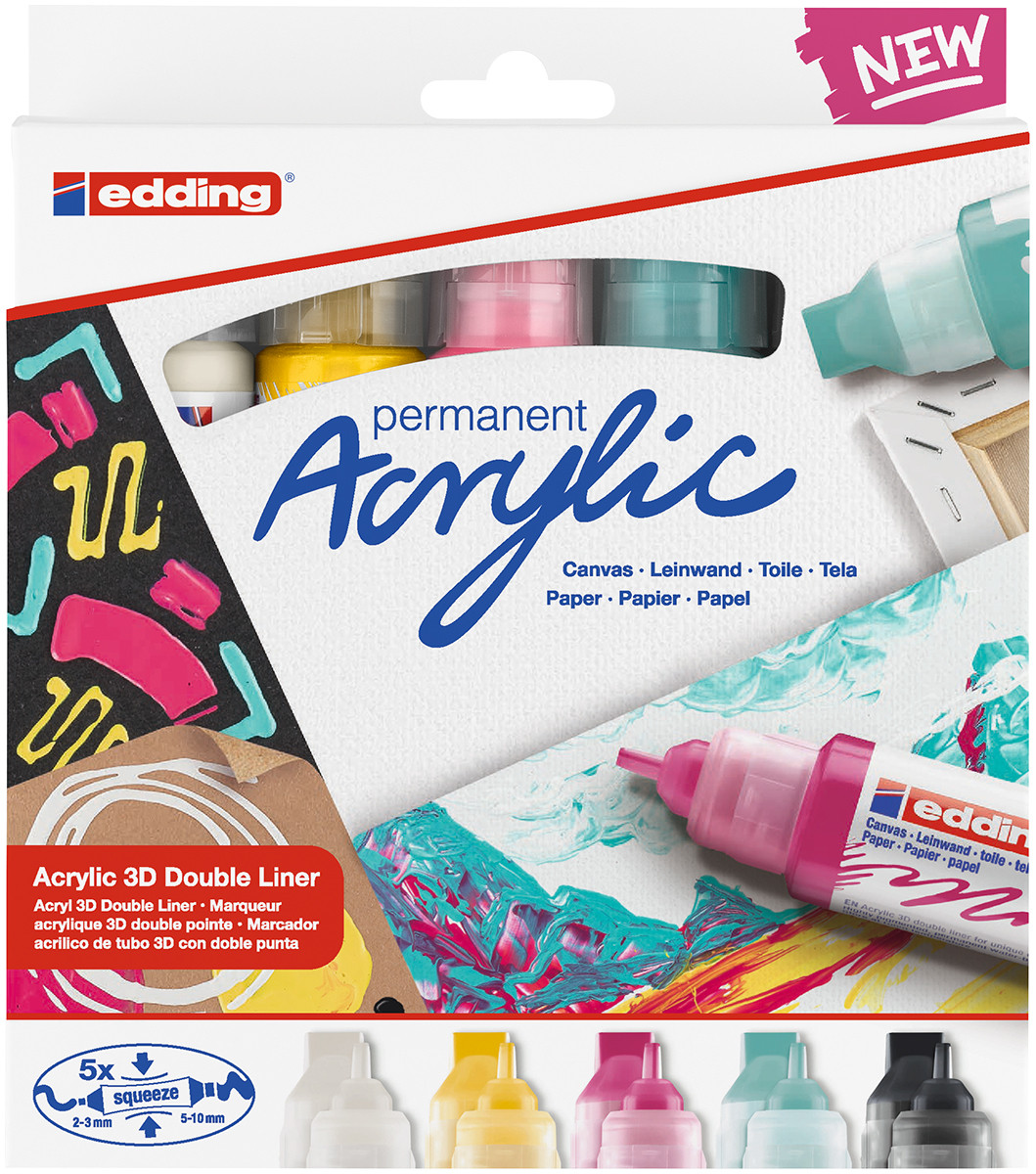Edding 5400 Acrylic Paint Markers - Dual Tip - Modern Colours (Pack of 5)