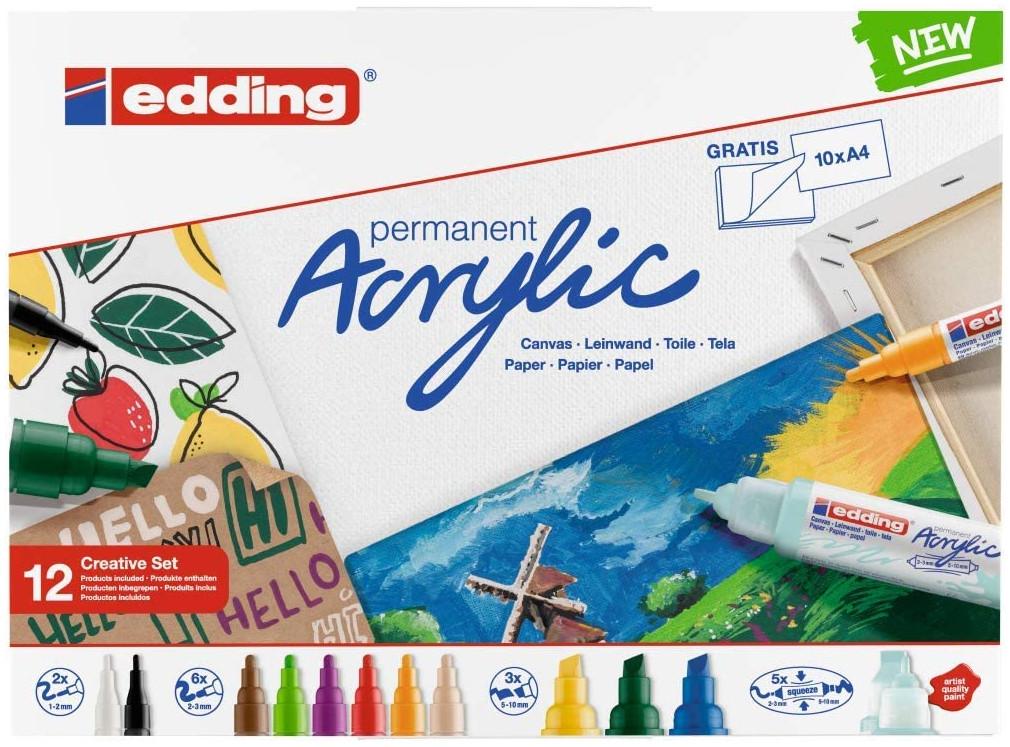 Edding Acrylic Paint Markers - Creative Set - Basic Colours (Pack of 12)