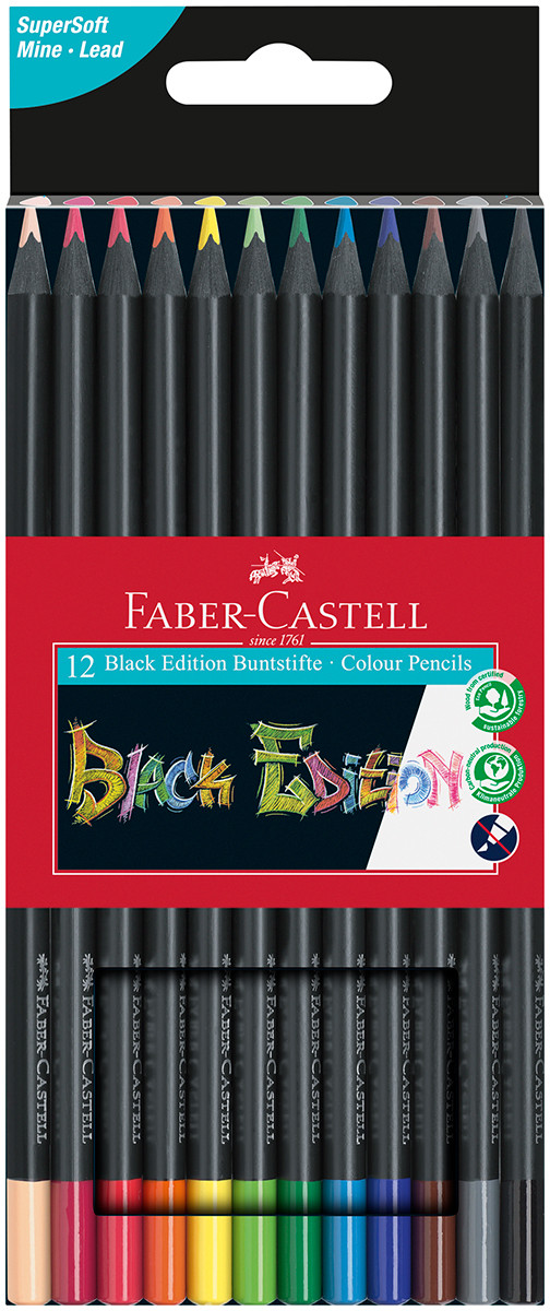 Faber-Castell Black Edition Colouring Pencils - Assorted Colours (Pack of 12)