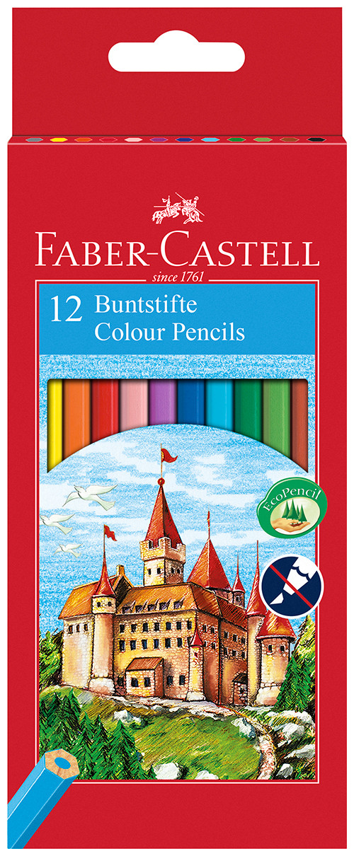 Faber-Castell Classic Colouring Pencils - Assorted Colours (Pack of 12)
