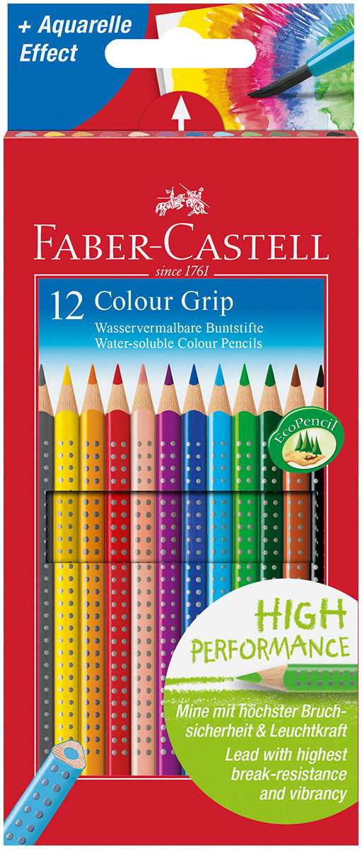 Faber-Castell Colour Grip Pencils - Assorted Colours (Pack of 12)