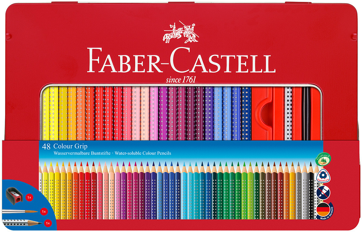 Faber-Castell Colour Grip Pencils - Assorted Colours (Tin of 48)
