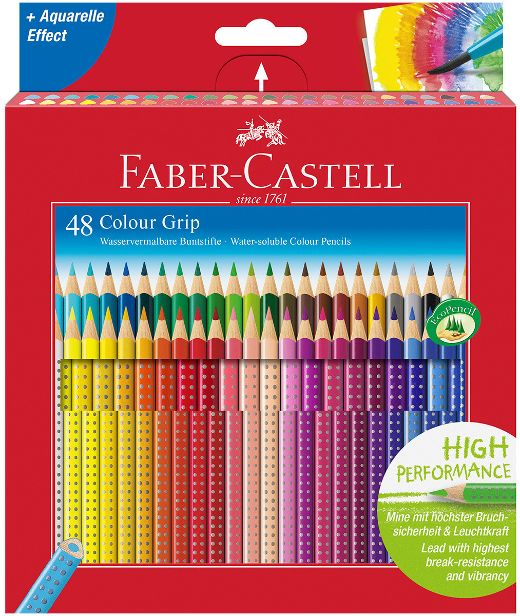 Faber-Castell Colour Grip Pencils - Assorted Colours (Pack of 48)