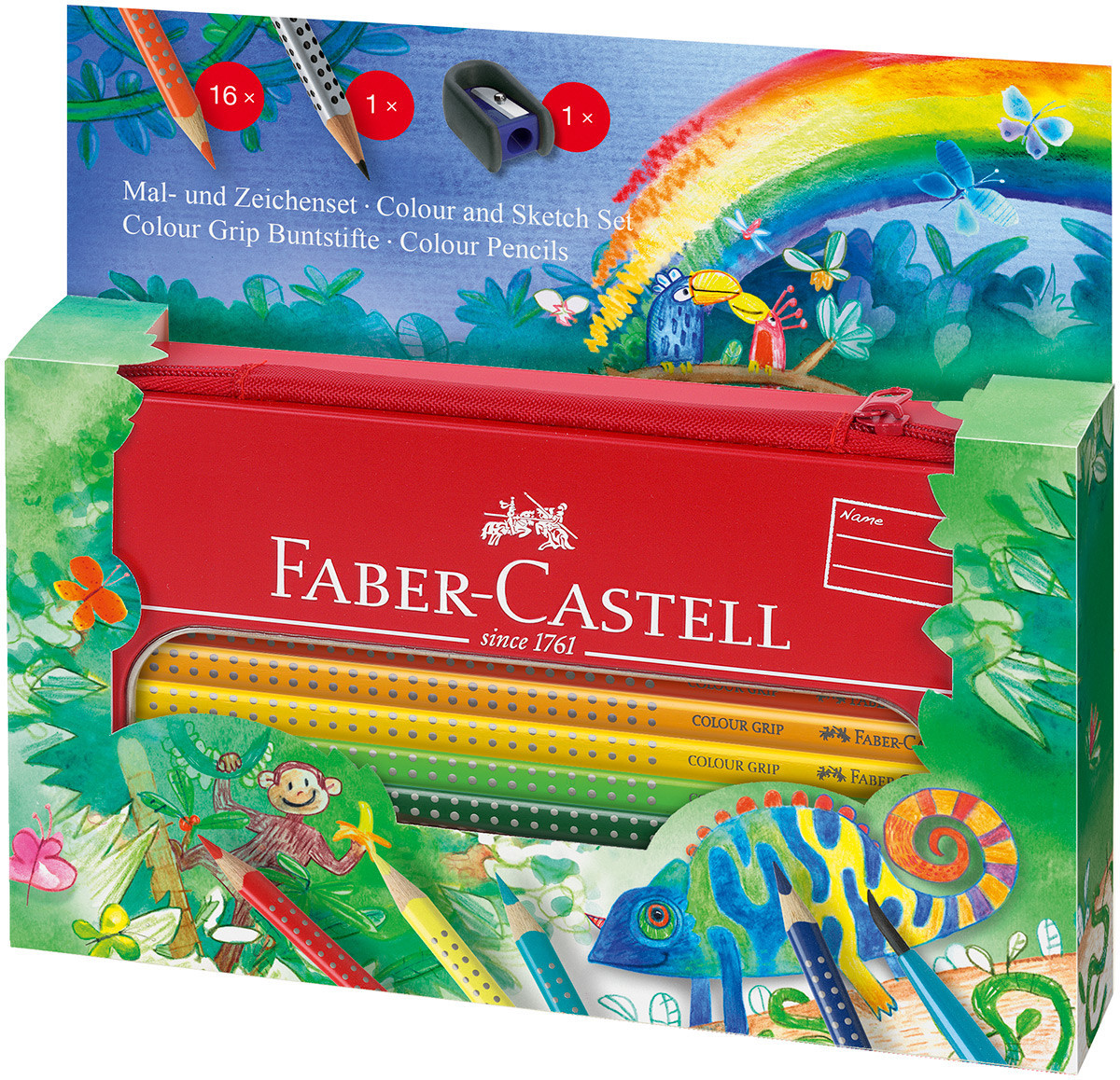 Faber-Castell Colour Grip Pencils - Jungle Gift Set with Pencil Case