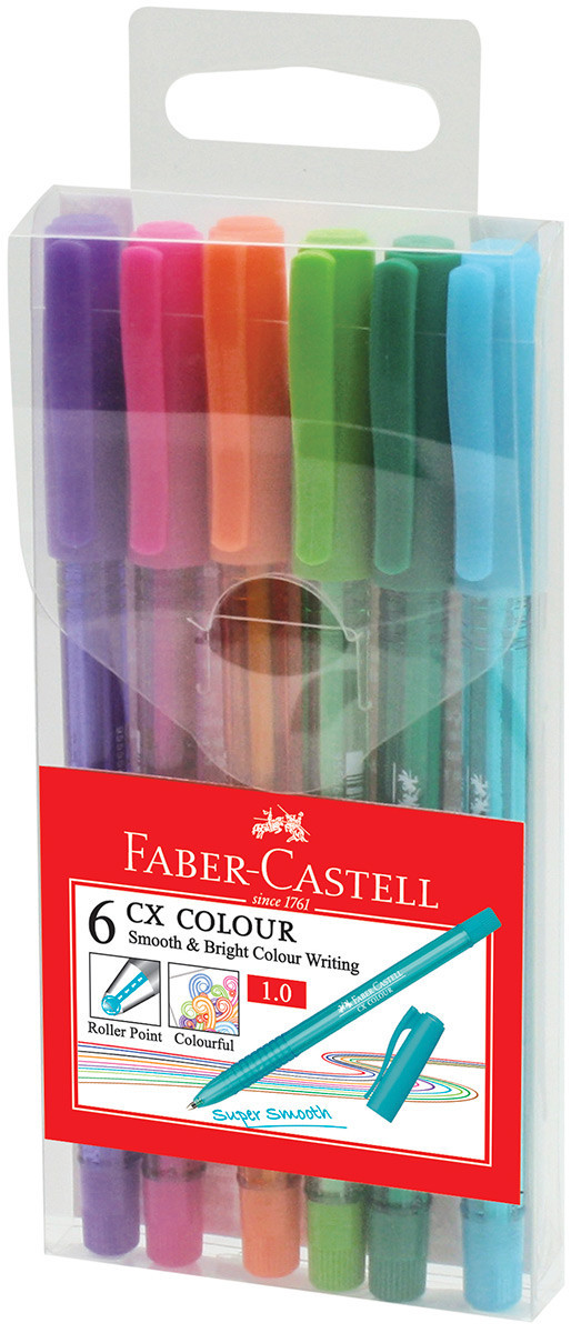 Faber-Castell CX Colour Rollerball Pens - Assorted Colours (Pack of 6)