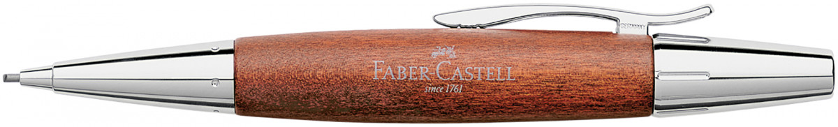 Faber-Castell e-motion Pencil - Brown Wood and Chrome