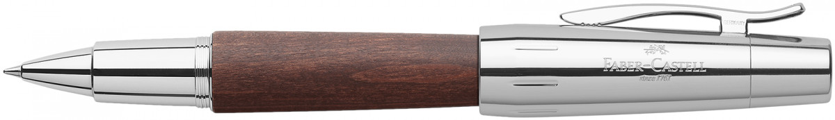 Faber-Castell e-motion Rollerball Pen - Dark Wood and Chrome