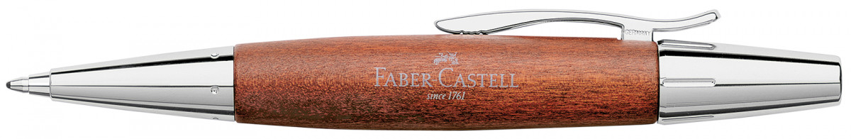 Faber-Castell e-motion Ballpoint Pen - Brown Wood and Chrome