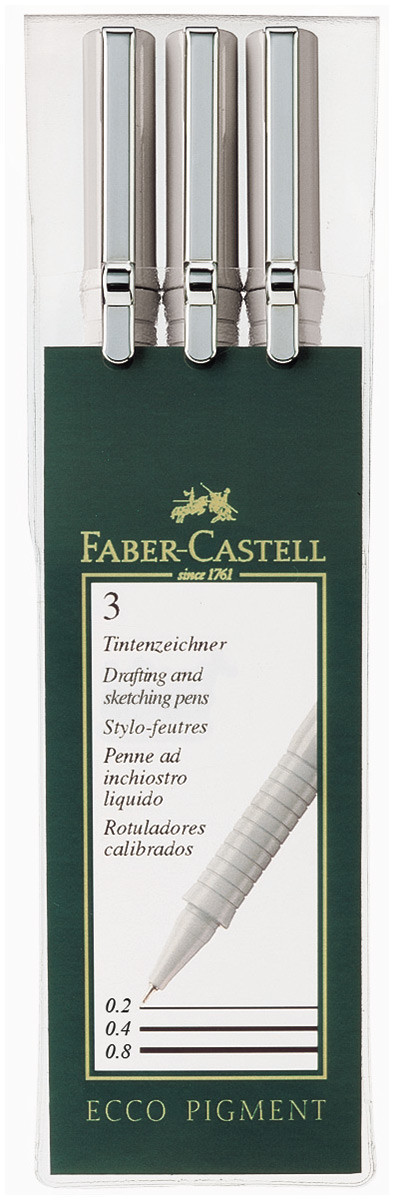 Faber-Castell Ecco Pigment Fineliner Pens - Black - Assorted sizes (Pack of 3)