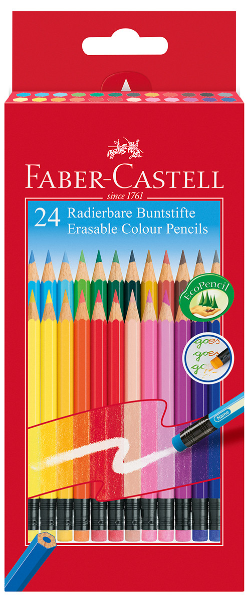 Faber-Castell Erasable Colouring Pencils - Assorted Colours (Pack of 24)