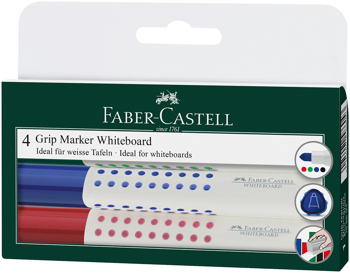 Faber-Castell Grip Whiteboard Marker - Bullet Tip - Assorted Colours (Wallet of 4)
