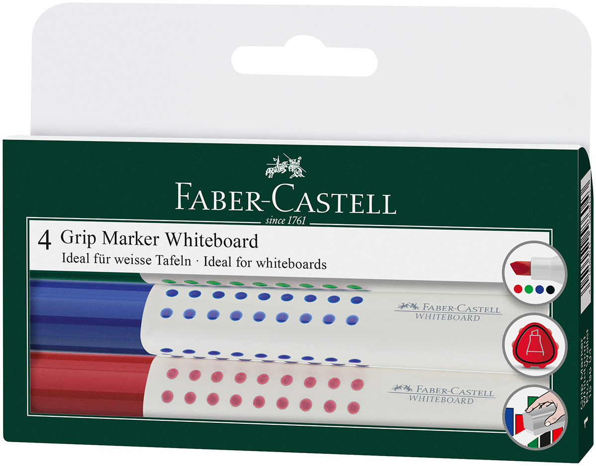 Faber-Castell Grip Whiteboard Marker - Chisel Tip - Assorted Colours (Wallet of 4)
