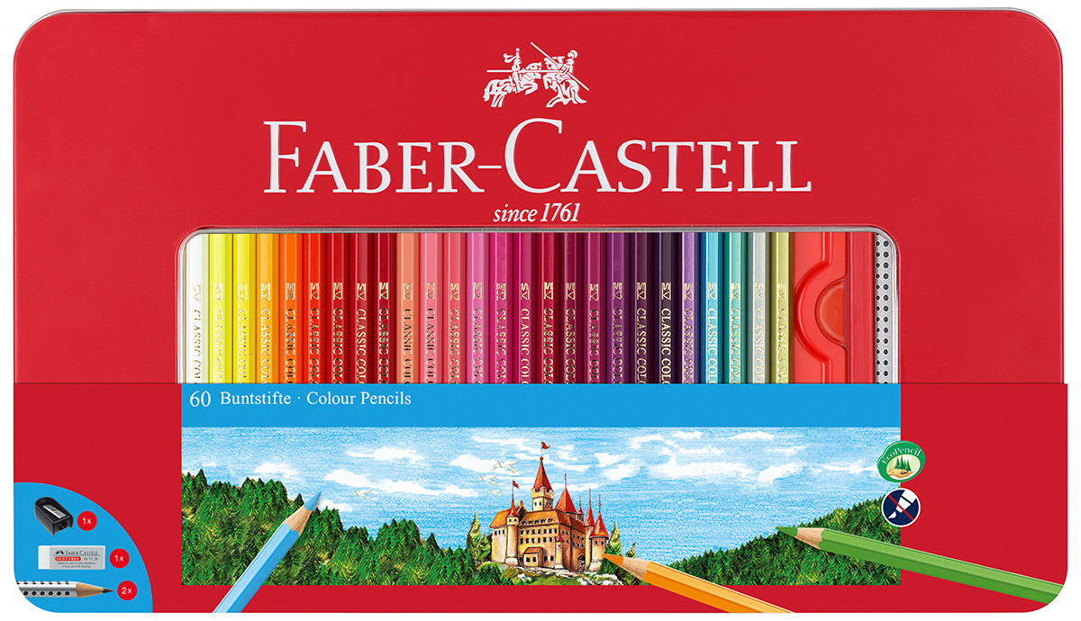 Faber-Castell Hexagonal Colouring Pencils - Assorted Colours (Tin of 60)