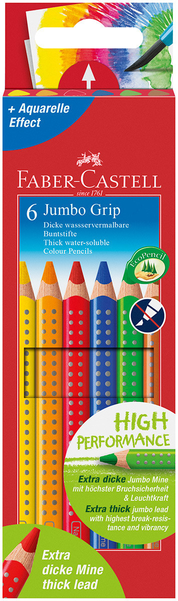 Faber-Castell Jumbo Grip Colouring Pencils - Assorted Colours (Pack of 6)