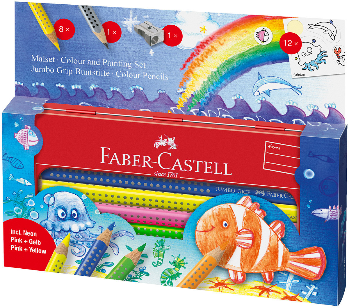 Tin of 12 Faber-Castell Jumbo Grip Colouring Pencils Assorted Ocean Colours