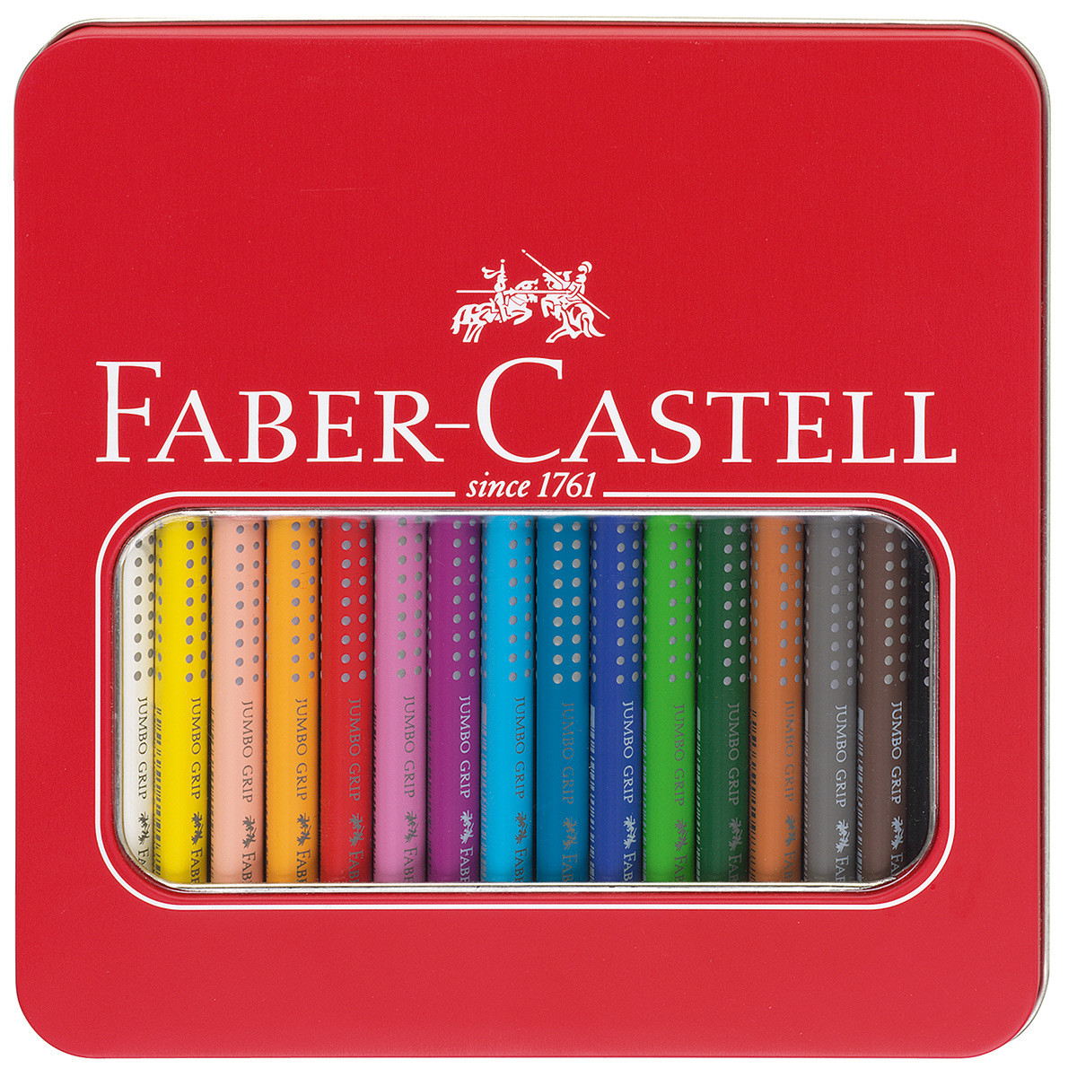 Faber-Castell Jumbo Grip Colouring Pencils - Assorted Colours (Tin of 16)