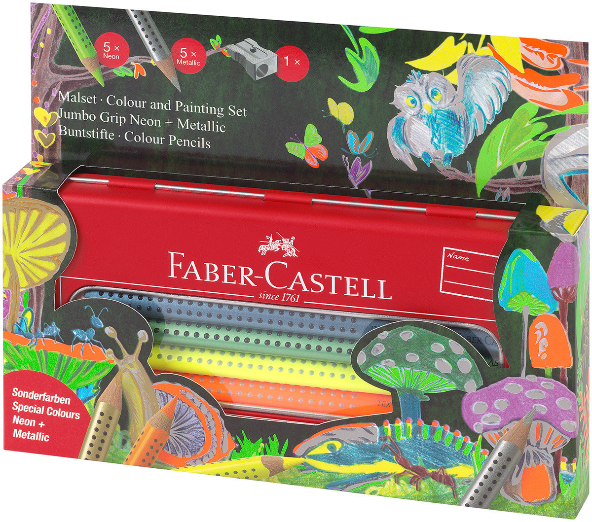 Faber-Castell Jumbo Grip Colouring Pencils - Assorted Neon & Metallic Colours (Tin of 10)