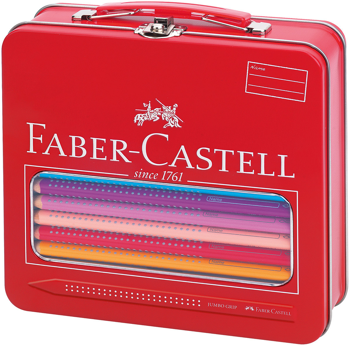 Faber-Castell Jumbo Grip Colouring Pencils - Assorted Colours with Paint Brush & Water Pot