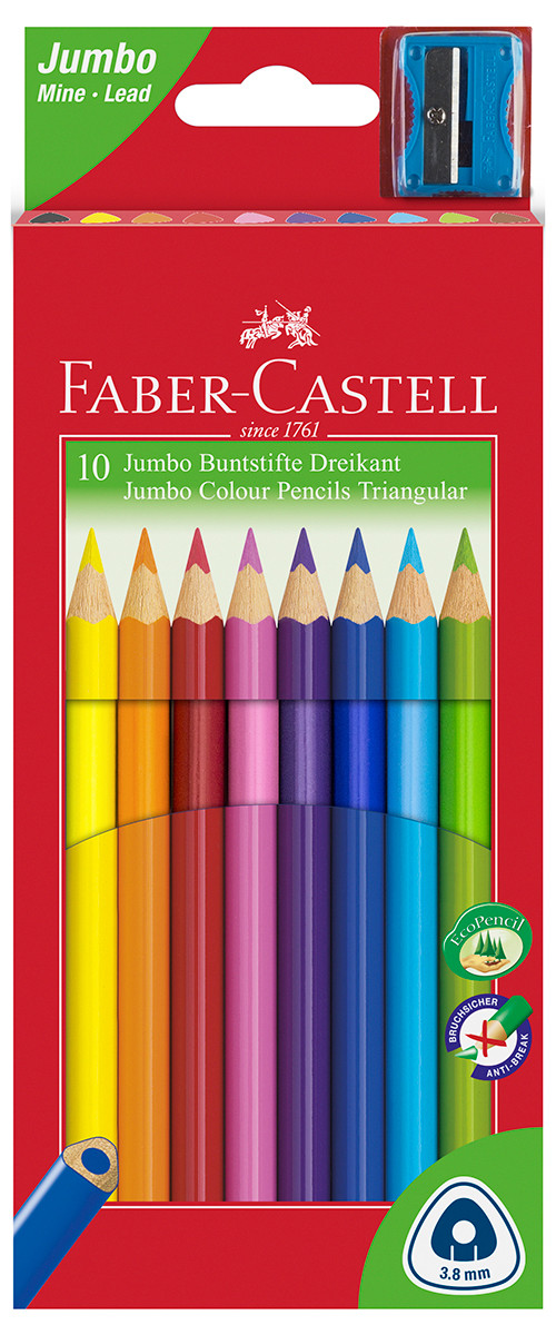 Faber-Castell Junior Triangular Colouring Pencils - Assorted Colours (Pack of 10)