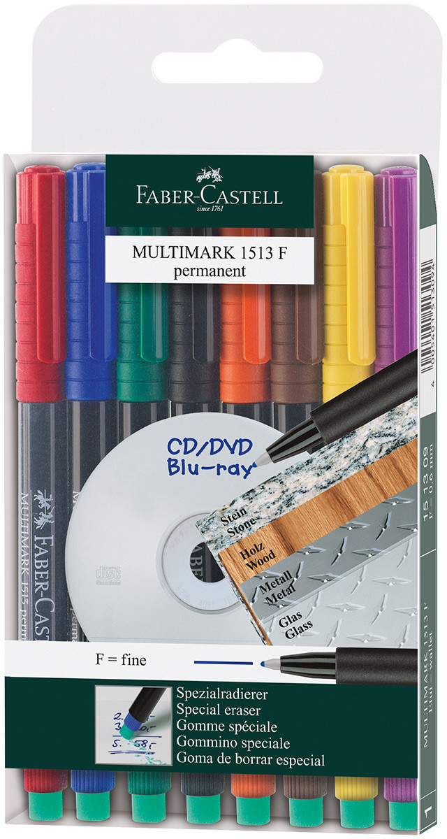 Faber-Castell Multimark Permanent Marker - Fine - Assorted Colours (Pack of 8)