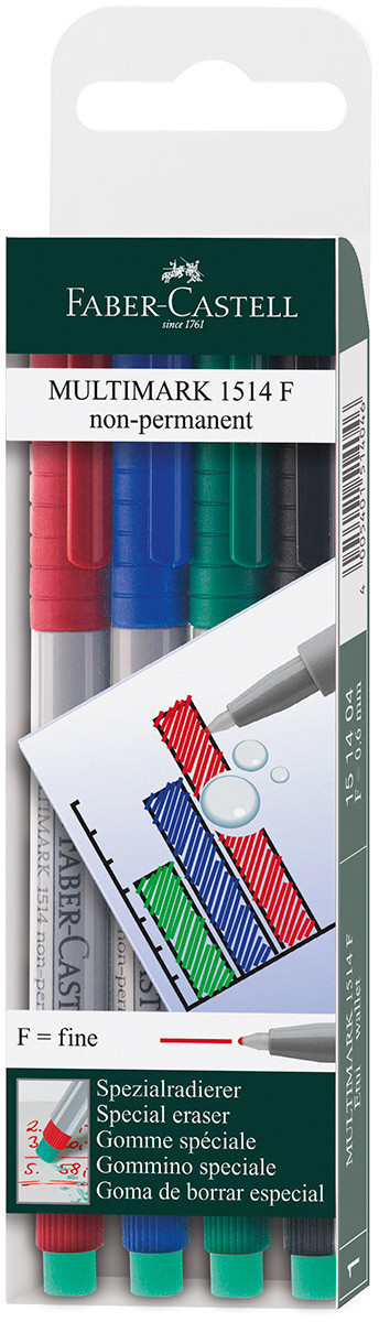 Faber-Castell Multimark Non-Permanent Marker - Fine - Assorted Colours (Pack of 4)
