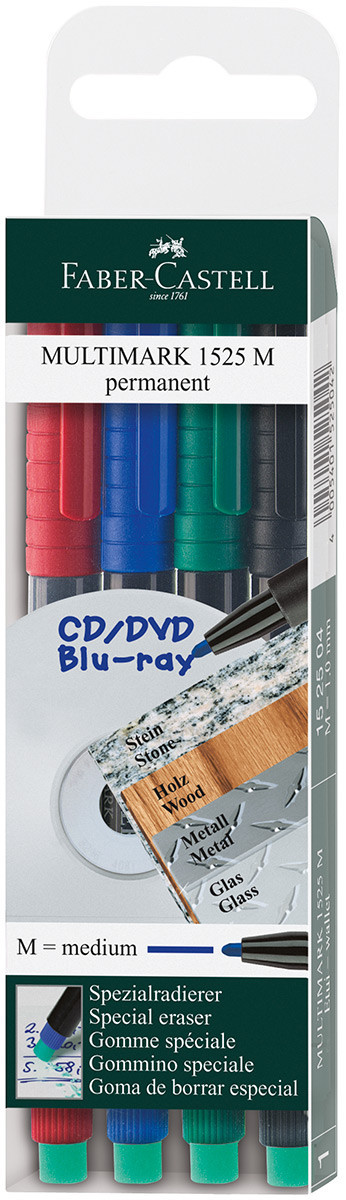 Faber-Castell Multimark Permanent Marker - Medium - Assorted Colours (Pack of 4)
