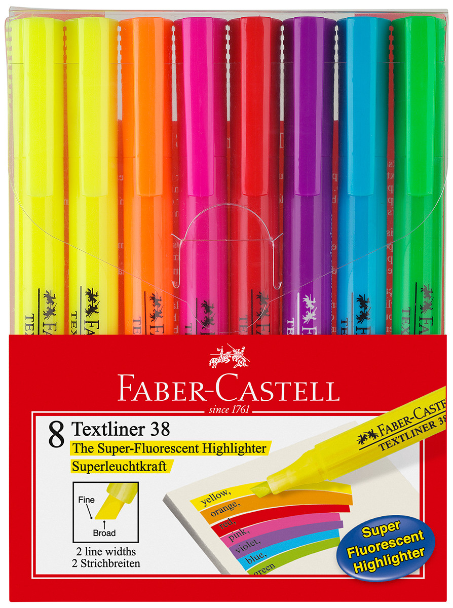Faber-Castell Textliner 38 Highlighters - Assorted Colours (Wallet of 8)