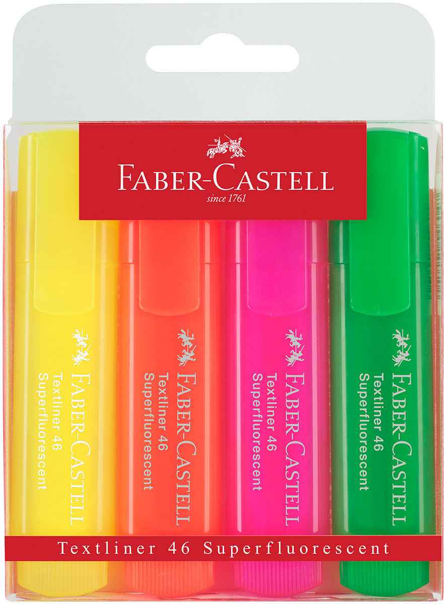 Faber-Castell Textliner 46 Highlighter - Assorted Colours (Wallet of 4)