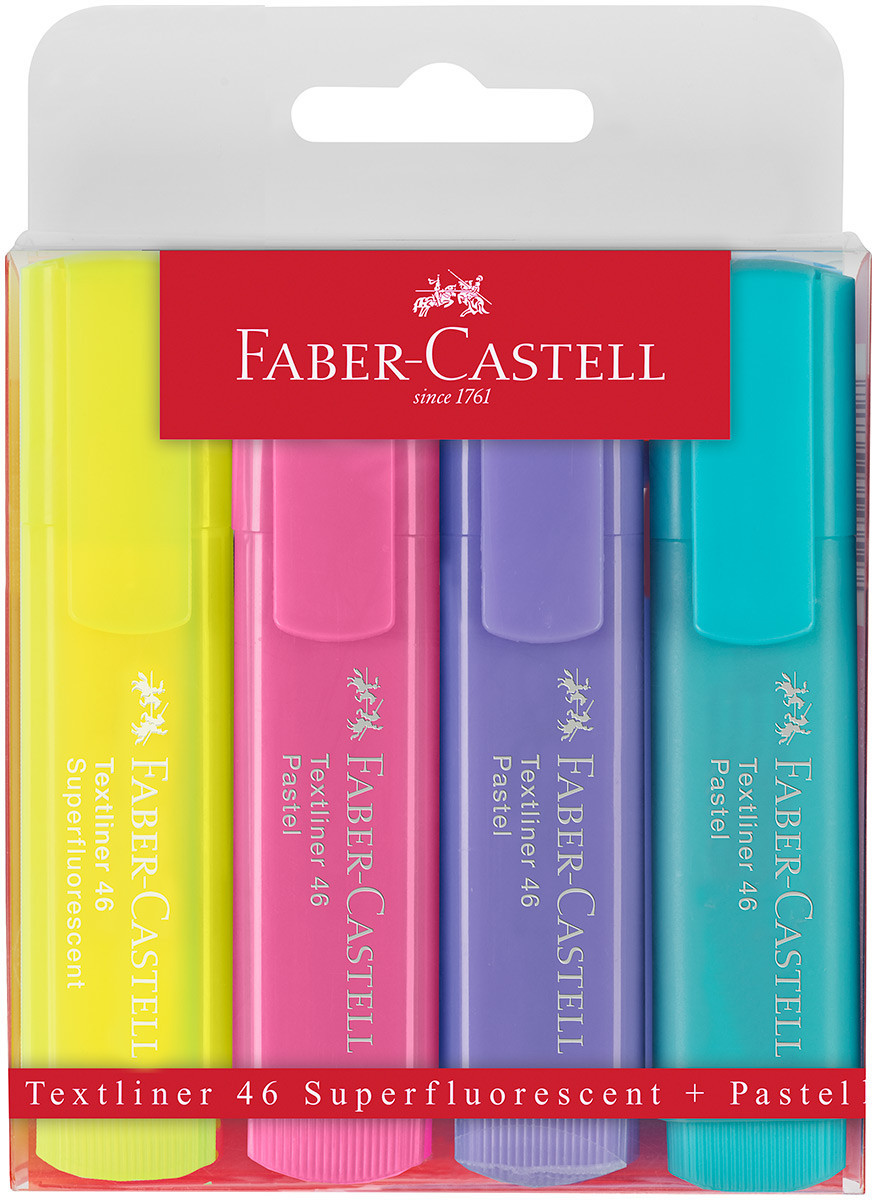 Faber-Castell Textliner 46 Pastel Highlighter - Assorted Pastel Colours (Wallet of 4)