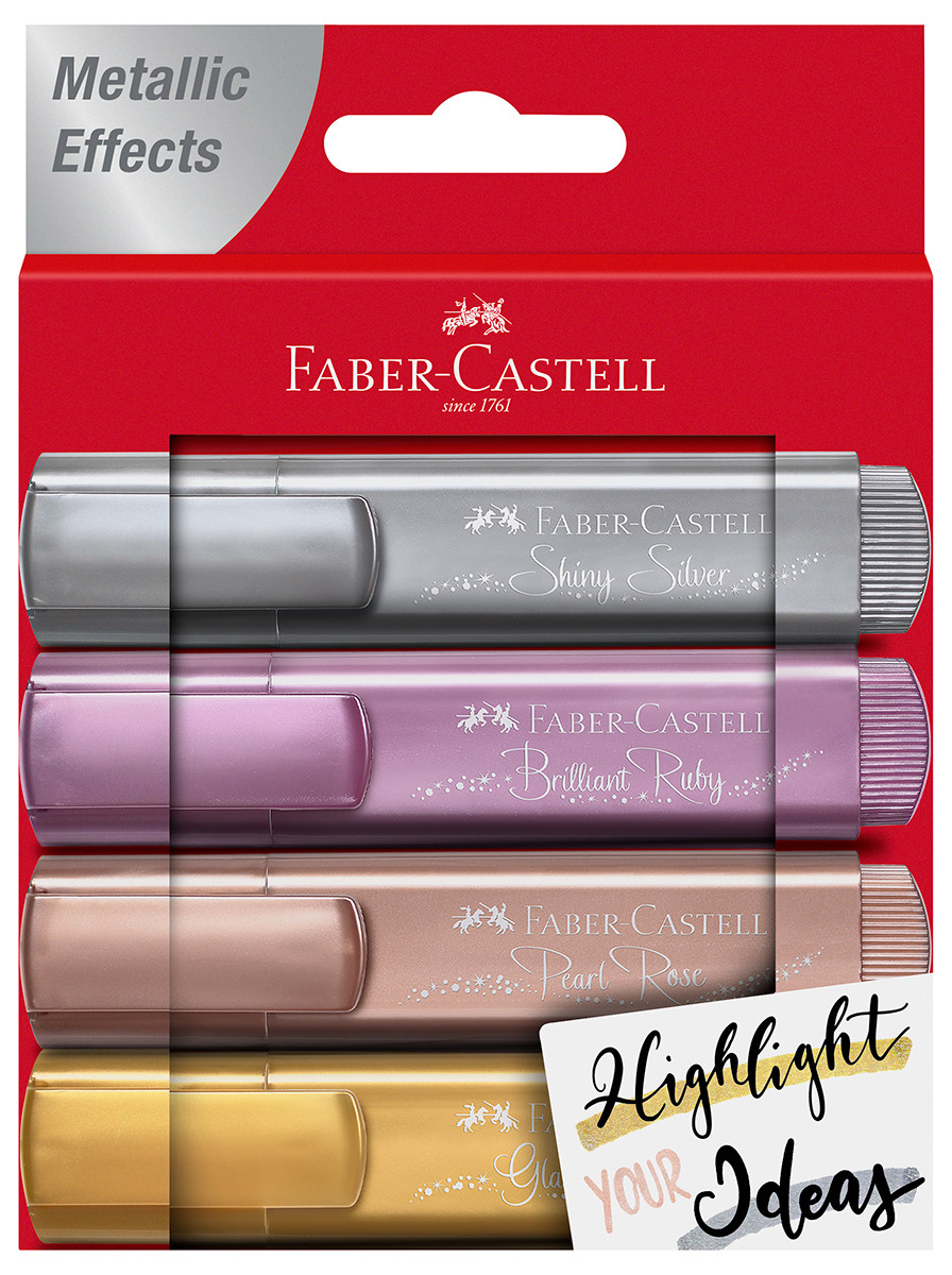 Faber-Castell Textliner 46 Metallic Highlighters - Assorted Colours (Wallet of 4)