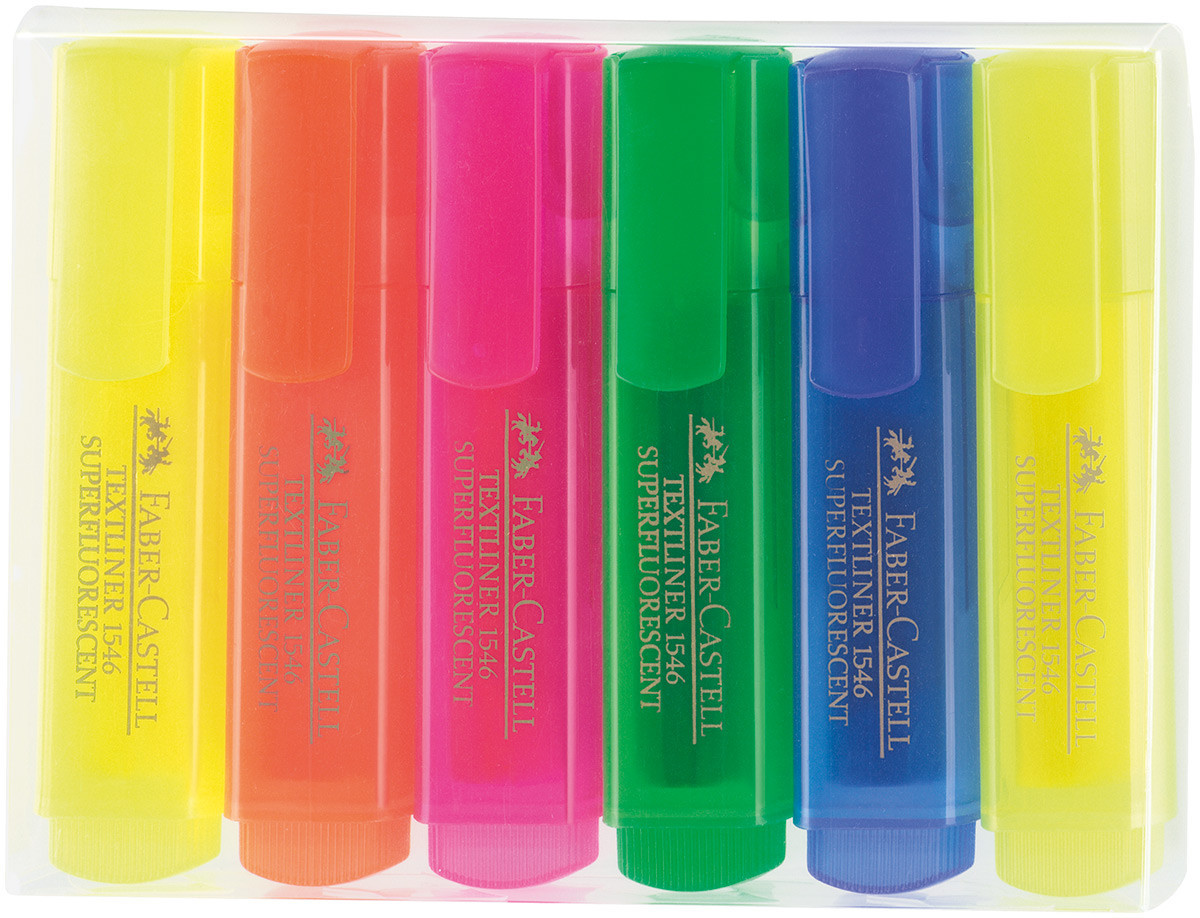 Faber-Castell Textliner 46 Highlighter - Assorted Colours (Wallet of 6)