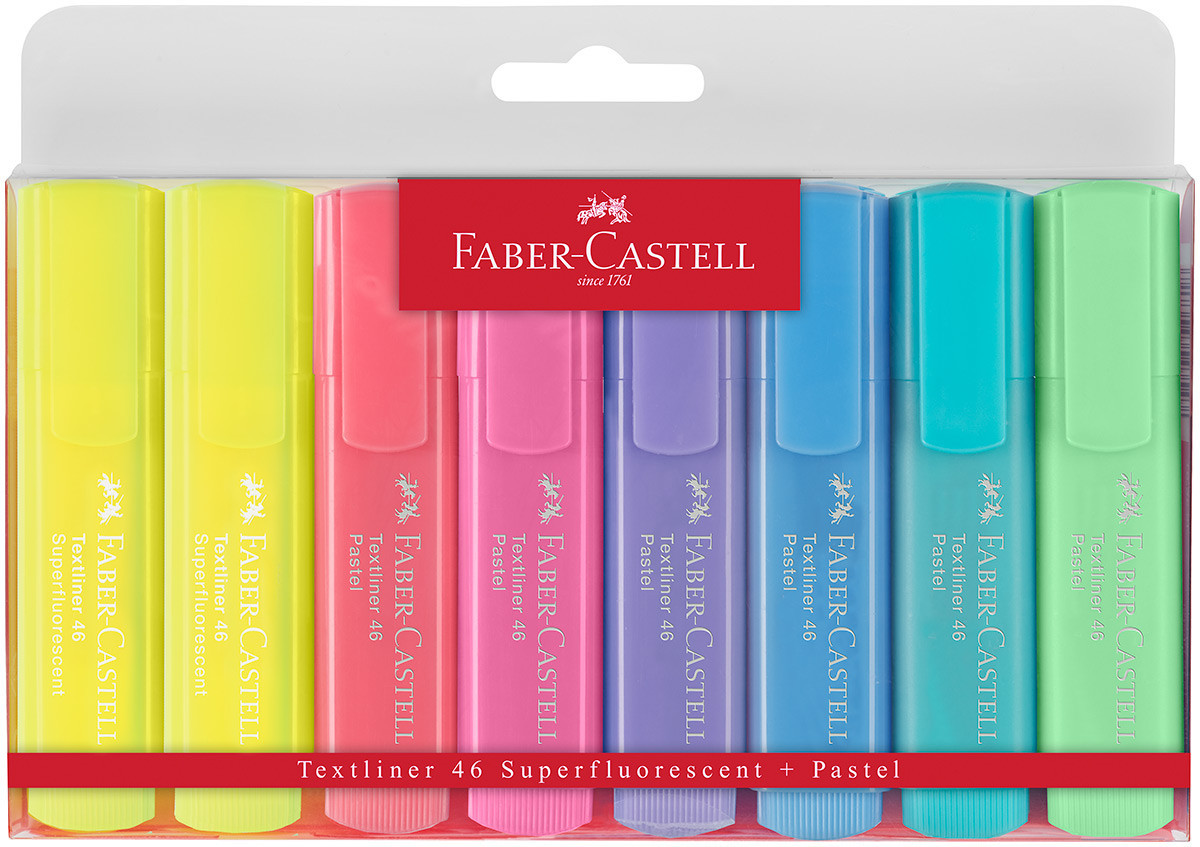 Faber-Castell Textliner 46 Pastel Highlighter - Assorted Pastel Colours (Wallet of 8)