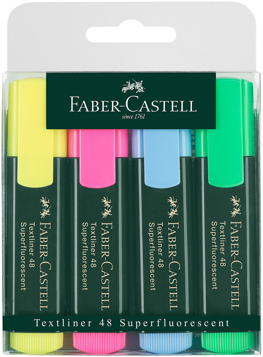 Faber-Castell Textliner 48 Highlighter - Assorted Colours (Pack of 4)