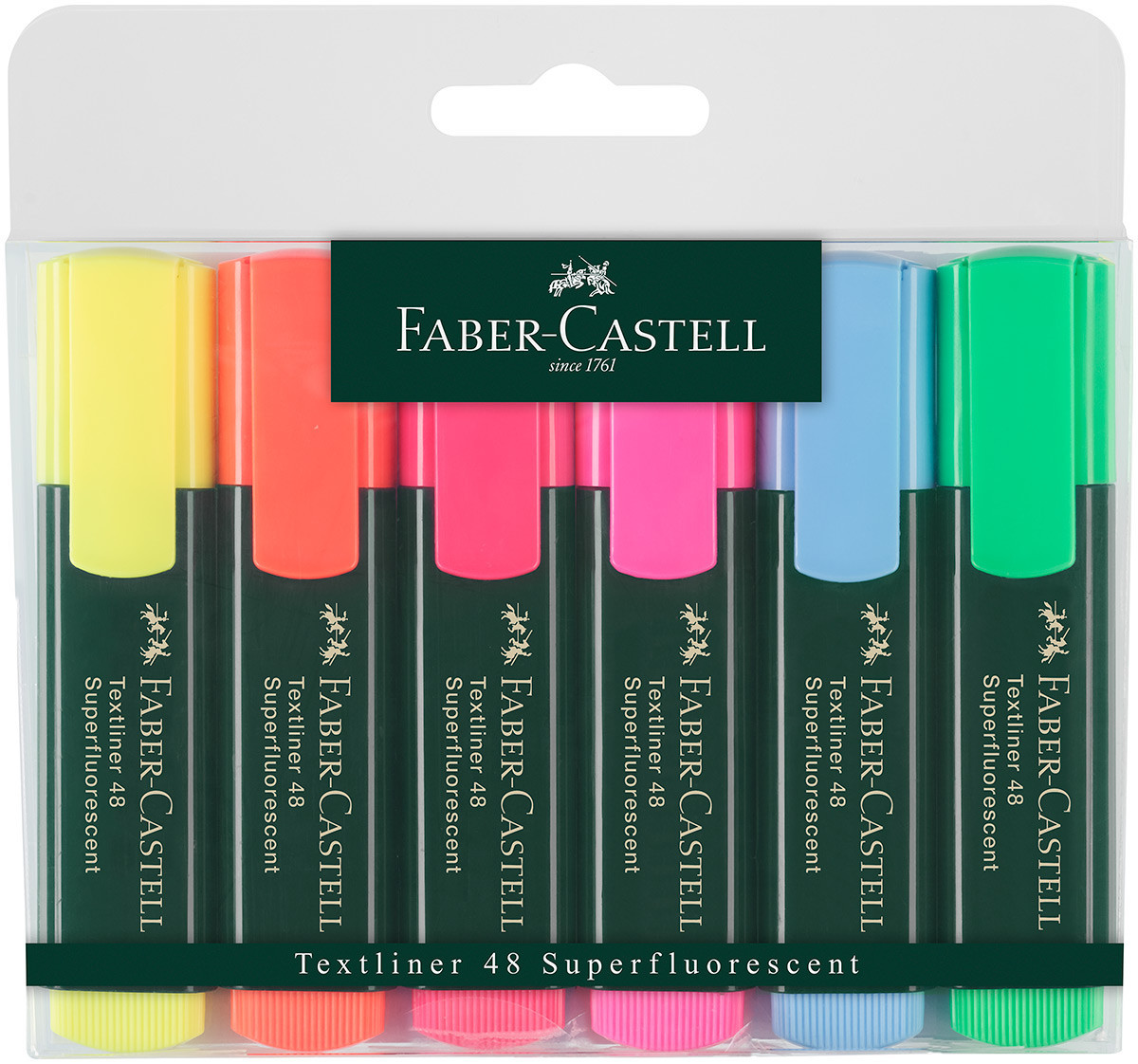 Faber-Castell Textliner 48 Highlighter - Assorted Colours (Pack of 6)