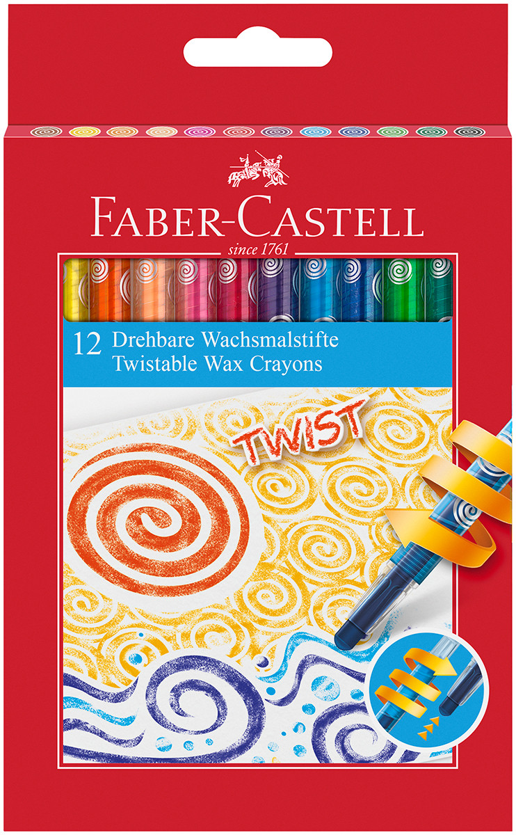 Faber-Castell Jumbo Twist Colouring Crayons - Assorted Colours (Pack of 12)