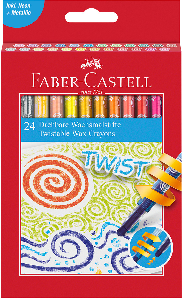 Faber-Castell Jumbo Twist Colouring Crayons - Assorted Colours (Pack of 24)